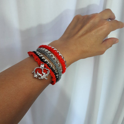 Elephant necklace wrap bracelet, elephant crochet necklace