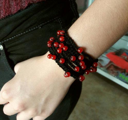 Gothic bracelet, crochet beaded cuff