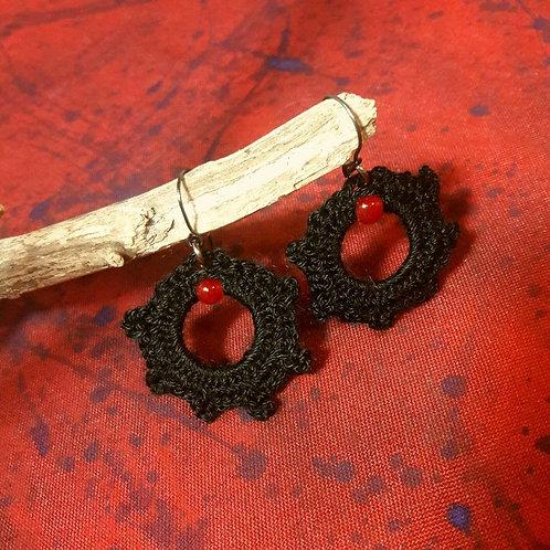 Gothic earrings, crochet earrings