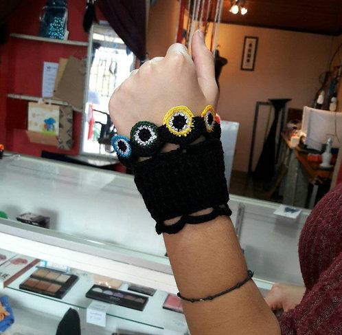 Evil eye bracelet, crochet chakra yoga bracelet