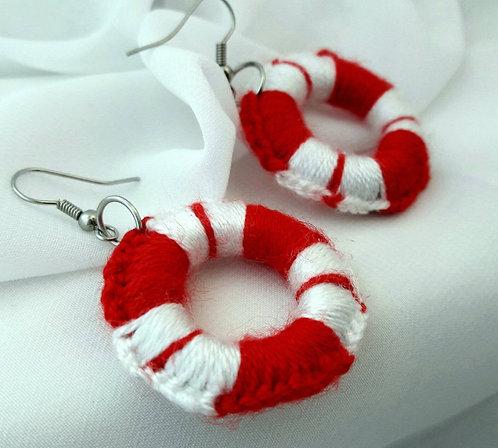 Crochet peppermint earrings, Christmas hoop earrings, dangle earrings