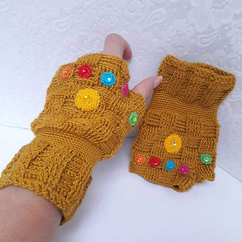 Infinity Gauntlets Crochet  fingerless gloves inspired by Thanos avengers infini