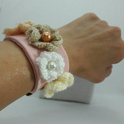 Denim bracelet, crochet stretch pink bracelet, fabric womens bracelet