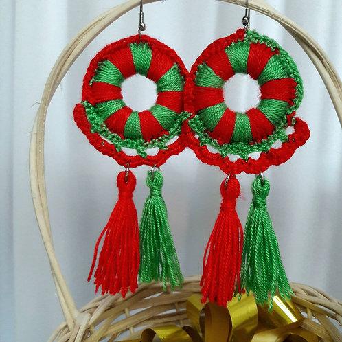 Crochet earrings, Christmas earrings, tassel earrings