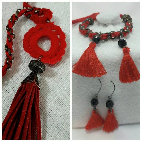 Tassel necklace, tassel bracelet, tassel earrings