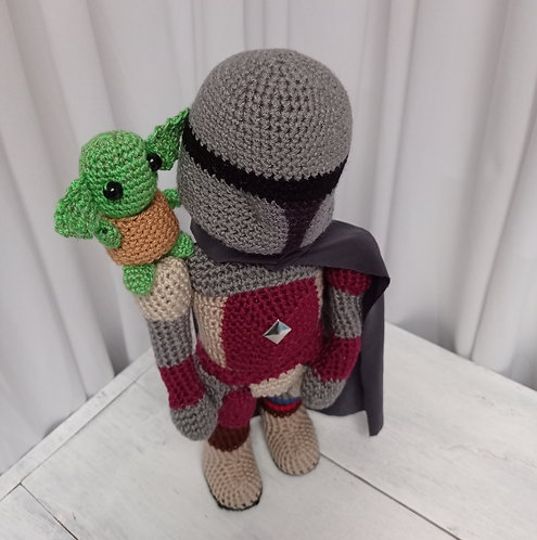 Mandalorian Yoda amigurumi, Star Wars plush crochet figure doll