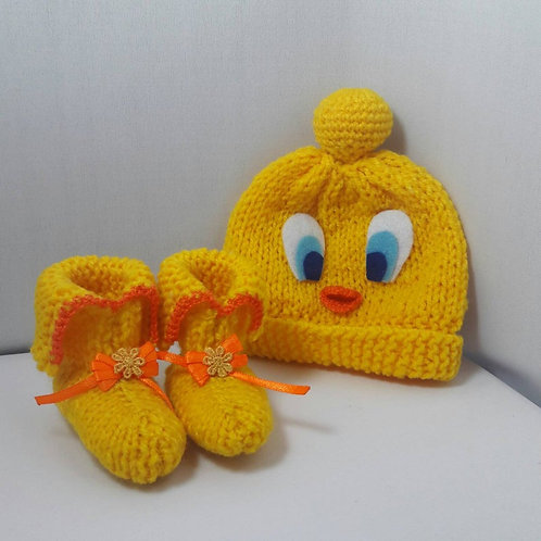 Tweety knit beanie, newborn shoes, newborn hat