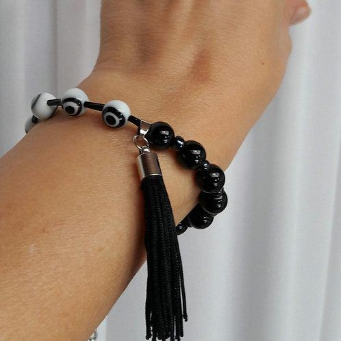 Protection evil eye beaded bracelet black tassel bracelet