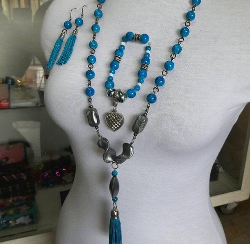 Jewelry set, beaded necklace, bracelet tassel earrings