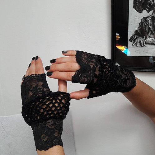 Black gloves, fingerless stretch mittens, crochet gothic accessories