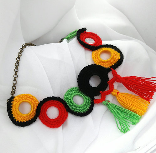 Crochet necklace, african ethnic necklace, crochet jewelry