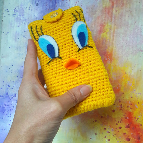 Phone cover purse, tweety crochet cell carrier case, cell cozy sleeve