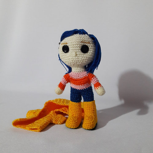 Crochet Coraline,  Amigurumi plush doll