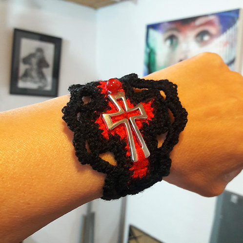 Gothic bracelet, crochet accessories, cross bracelet, Costa Rica
