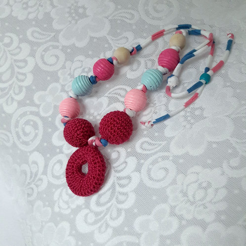 Breastfeeding Baby Necklace  Baby Shower Gift Crochet New Mom necklace