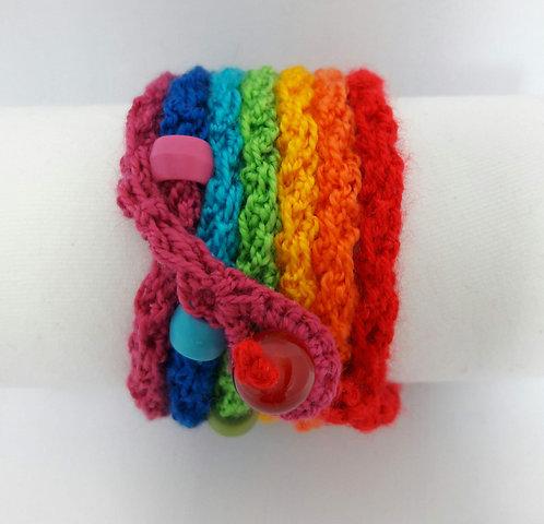 Rainbow wrap bracelet, chakra cuff, Costa Rica Bracelet