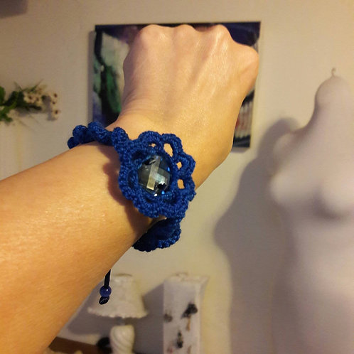 Crystal bracelet, crochet bracelet, blue cuff, adjustable bracelet