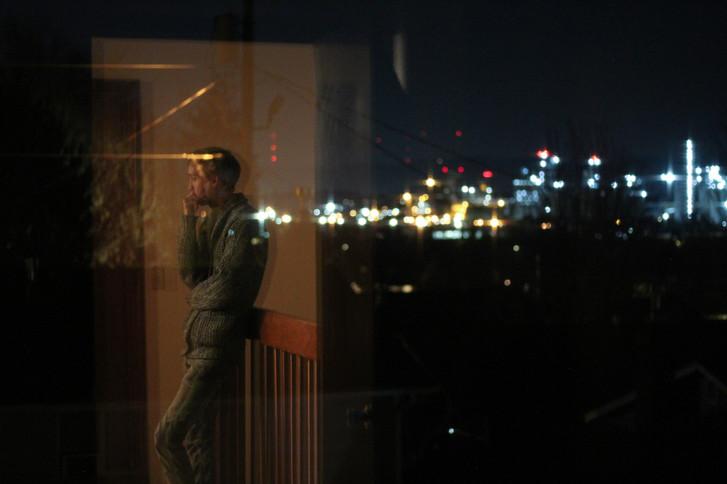 Window Reflection Industrial City Night