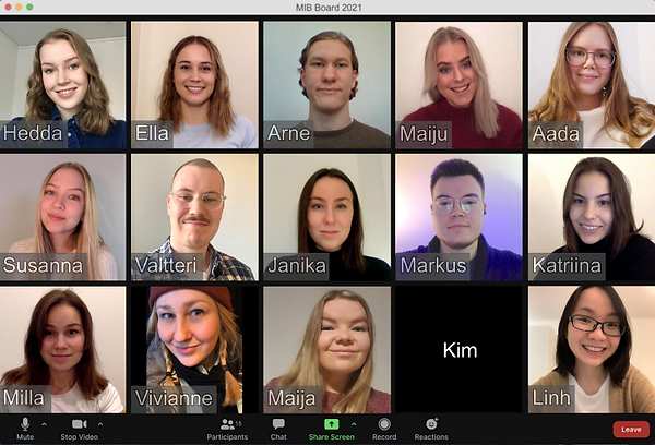 Screen capture of the MIB Board during a video call.