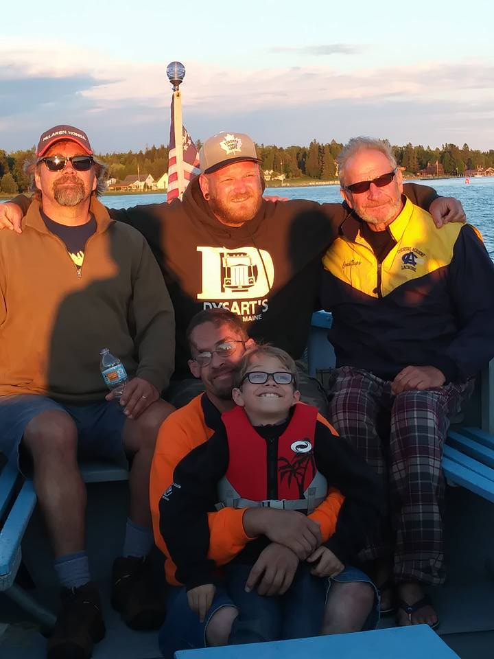 All my men: (L-R) step-dad Ken, husband Marcel, father Bevan, brother-in-law Ricky and nephew Charlie
