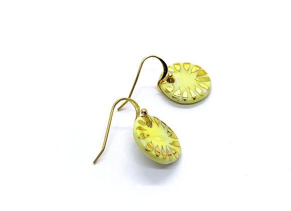 Yellow Circle Pendant Earrings