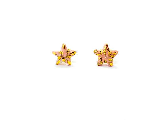 Shiny Pink Star Earstuds