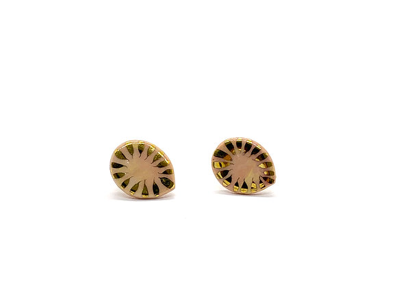 Pink and yellow marbeld Drop Earstuds