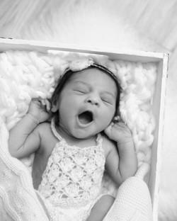 newborn girl yawn