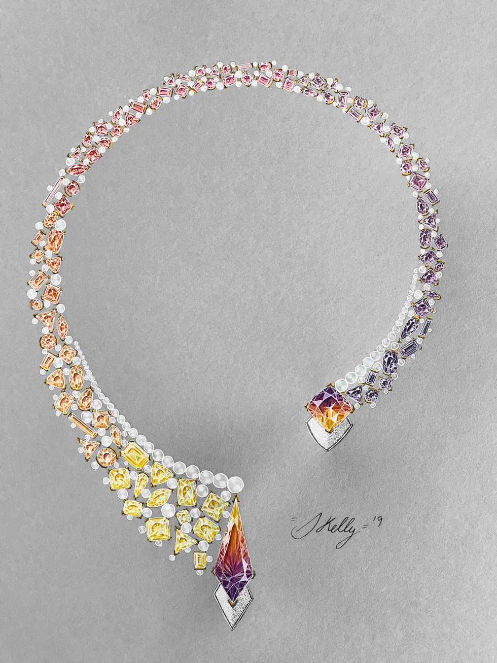 Ametrine, Citrine, Sapphire, Amethyst Pearl and Diamond Necklace