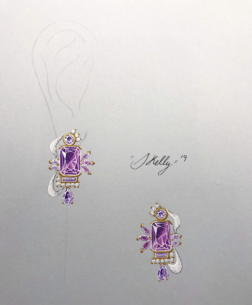 Amethyst, Sapphire, Tourmaline and Diamond Earrings