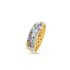 Two tone multi gemstone bangle.