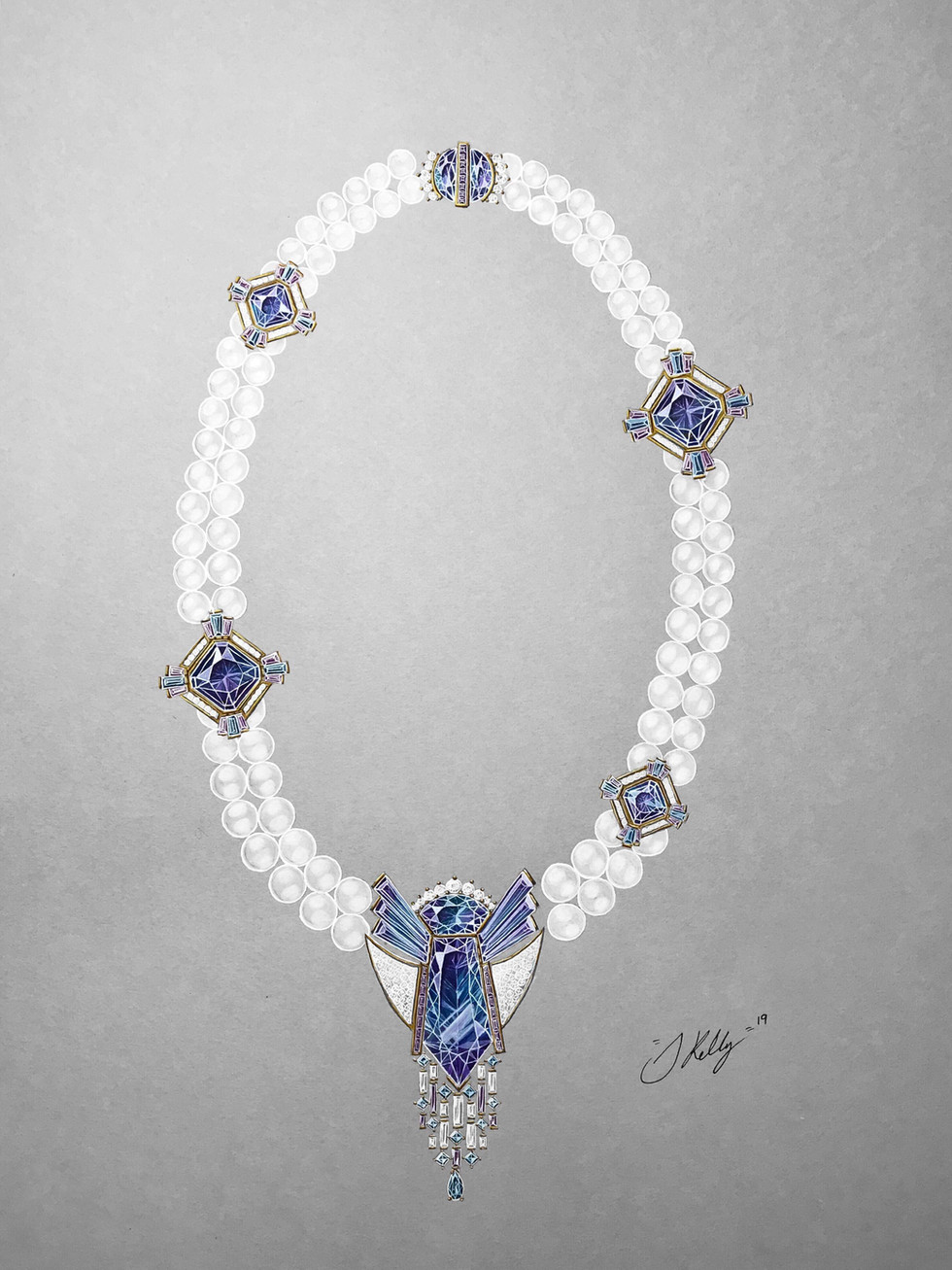 Tanzanite, Diamond and Pearl Necklace.