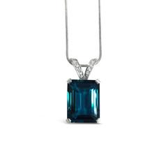 London Blue Topaz and Diamond Pendant.