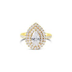 Pear Cut Double Halo Diamond  Engagement Ring