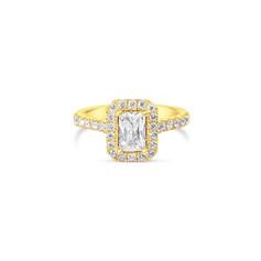 Emerald Cut Diamond Halo Engagement Ring
