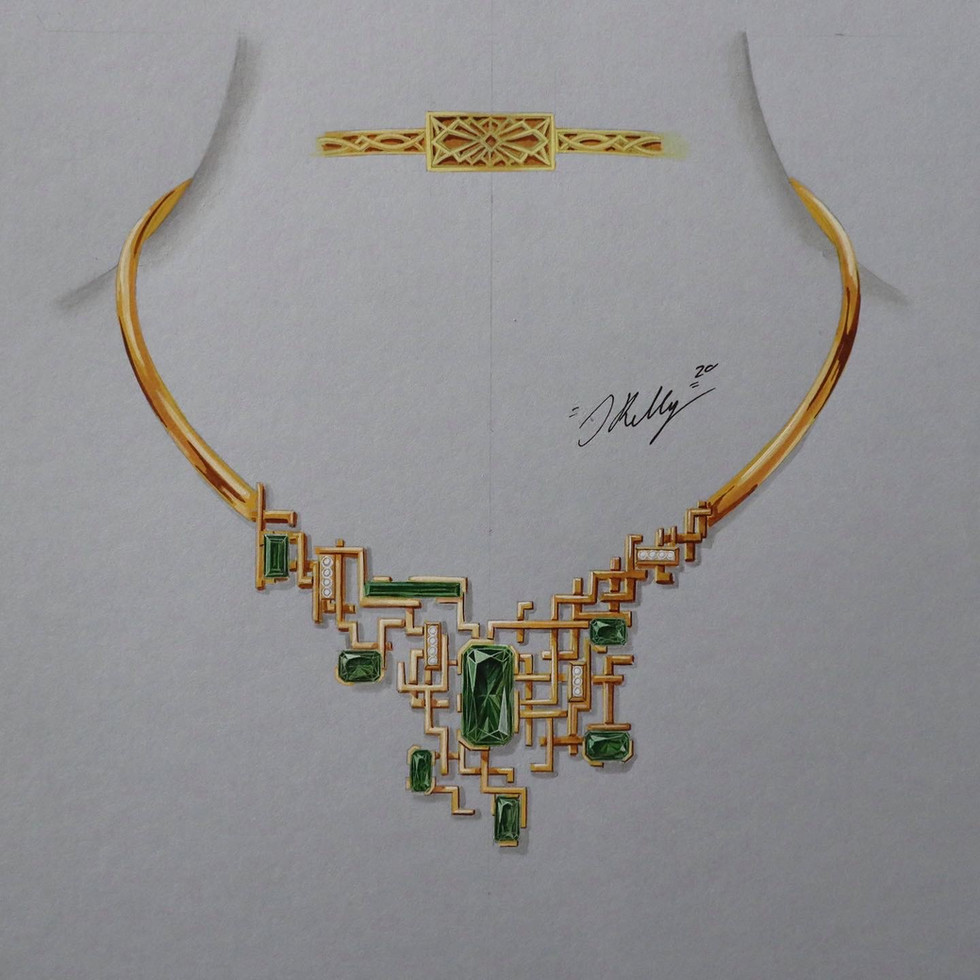 Tourmaline and Diamond Art Deco Inspired Necklet
