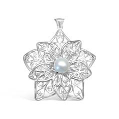 Flower Pearl Filigree Pendant