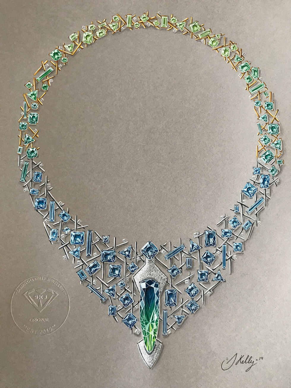 Bi-coloured Tourmaline, Sapphires, Emeralds, Tourmalines, Peridots and Diamond Necklace.