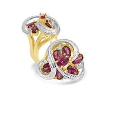 Rhodolite Garnet and Diamond Cocktail Ring.