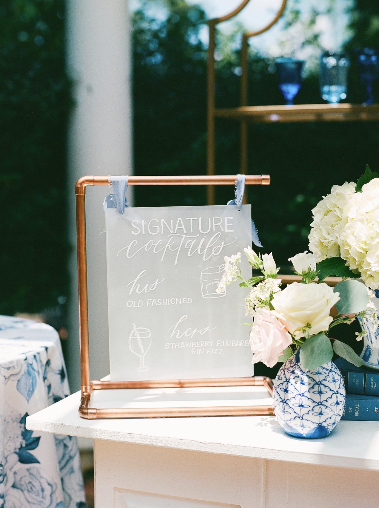 SoHo Event Design wedding planner Duke Mansion wedding custom signage