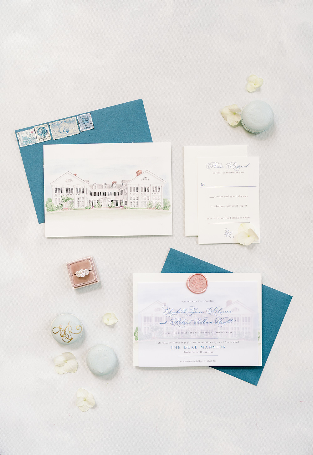 SoHo Event Design wedding planner Duke Mansion wedding custom invitation suite north carolina wedding planner