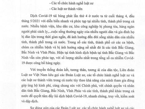 Lời kêu gọi ủng hộ phòng, chống đại dịch Covid-19 ở tỉnh Bắc Giang, Bắc Ninh và Vĩnh Phúc