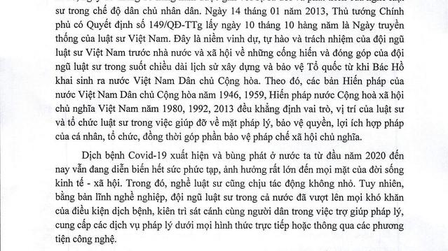 Thư chúc mừng của Chủ tịch Liên đoàn Luật sư Việt Nam nhân kỷ niệm 76 năm ngày truyền thống