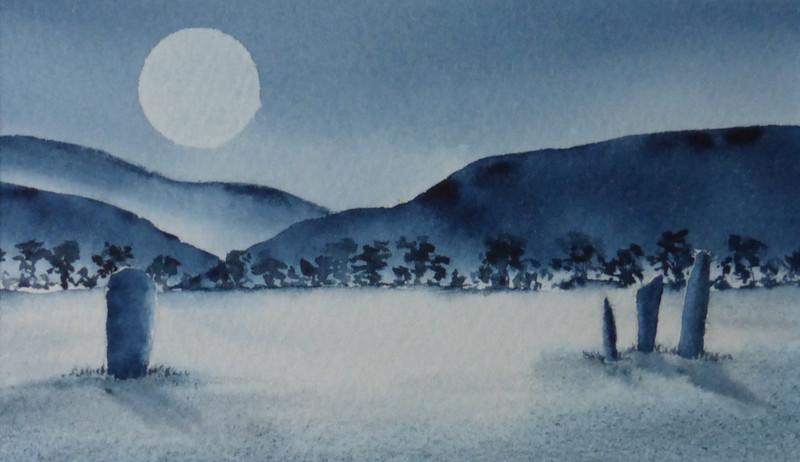 Machrie Standing Stones in moonlight