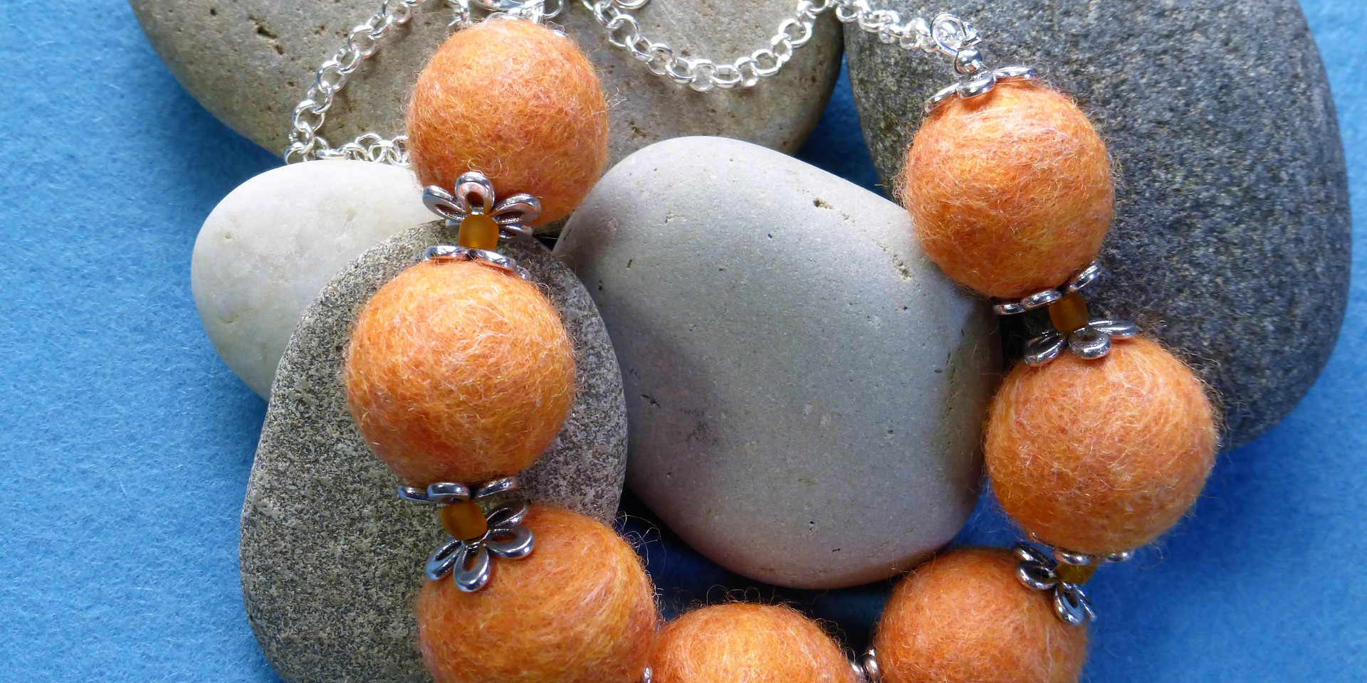 Arran sunset felt bead necklace