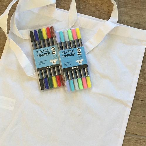 Knutselpakket: tekenen op textiel (draagtas)