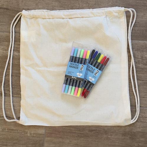 Knutselpakket: tekenen op textiel (rugzak)