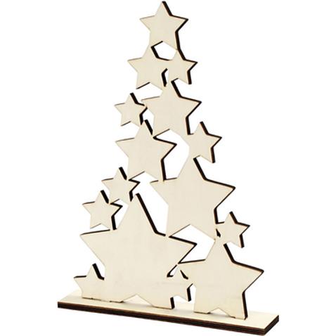 Houten kerstboom met sterren