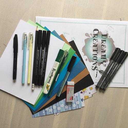 Handletterpakket wenskaarten Blauw/groen tinten