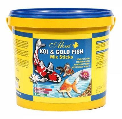 מזון במבה צבעוני לדגי בריכה,זהב וקוי. דלי 15 ליטר  AHM Koi Goldfish Mix Sticks